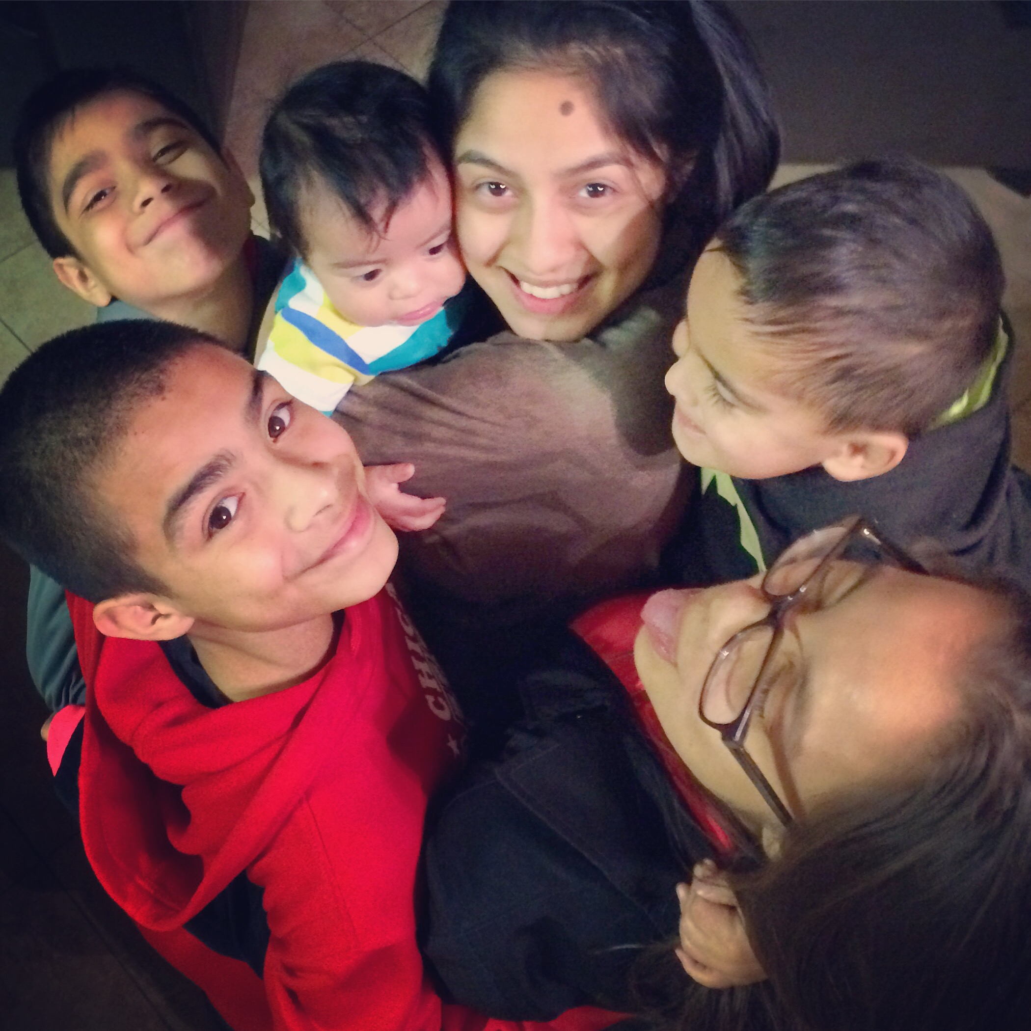 Children in a group hug