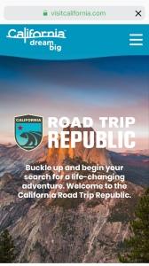 Screen shot of the Visit California website