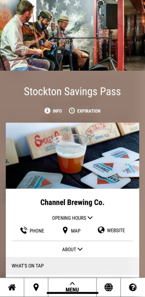 Screen shot of the Stockton Savings Pass