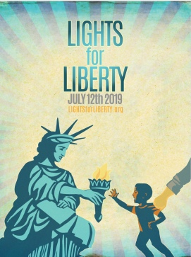 Flyer image of Lights for Liberty candlelight vigil on Friday, July 12, 2019. The image is the Statue of Liberty handing her light to an immigrant child who is trenching out his hand to reach it while another person's hand is grabbing the child to pull them away from the light.