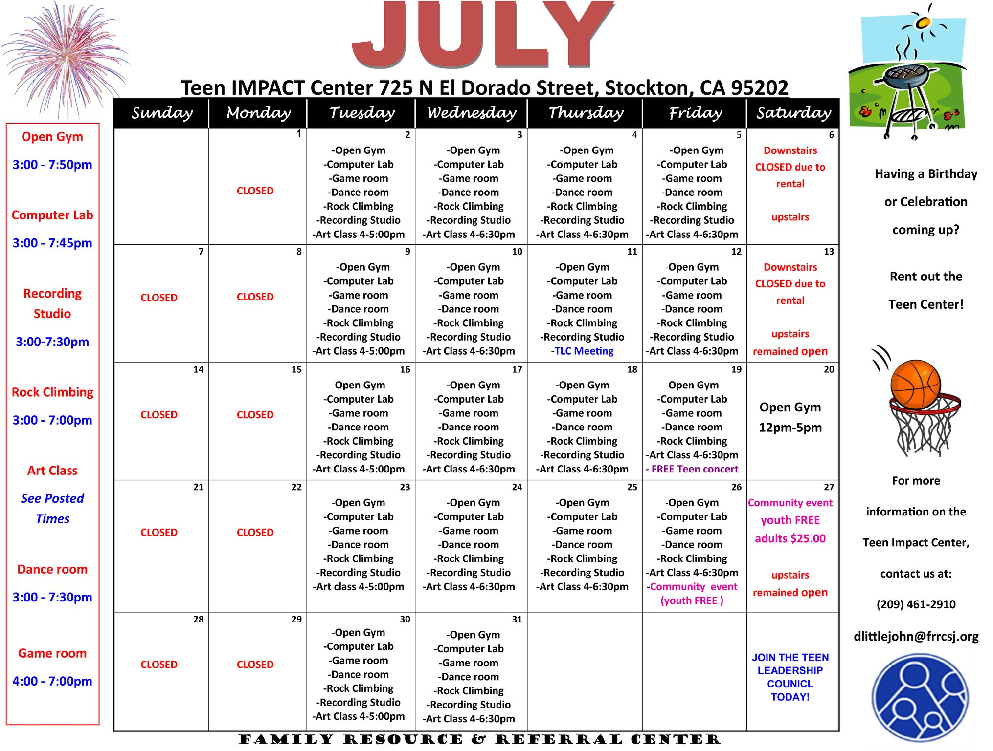 Calendar of all activities held at the Podesto Teen Impact Center