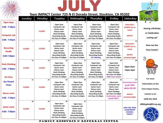 Calendar of all activities held at the Podesto Teen Impact Center